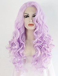 cheap -Women Synthetic Wig Lace Front Medium Length Long Curly Wavy Purple Lolita Wig Party Wig Celebrity Wig Halloween Wig Carnival Wig Cosplay