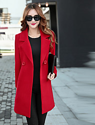 cheap -Women's Daily Lolita Winter Fall Coat,Solid V Neck Regular Polyester