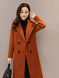 cheap -Women's Daily Simple Casual Winter Fall Pea Coat,Solid Peaked Lapel Long Sleeve Long Others