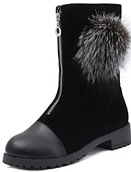 cheap -Women's Shoes Flocking Nubuck leather PU Suede Winter Comfort Fashion Boots Boots Chunky Heel Round Toe Mid-Calf Boots Zipper Pom-pom For
