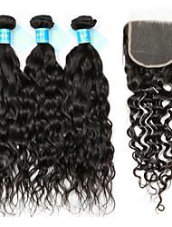abordables -Cheveux Péruviens Cheveux Rémy Ondulation Tissages de cheveux humains 4 Trame cheveux avec fermeture