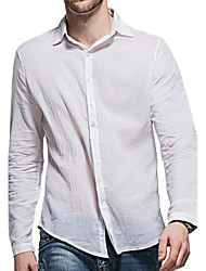 cheap -Men's Cotton Shirt - Solid Colored Basic Classic Collar / Long Sleeve