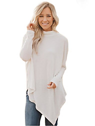 cheap -Women's Going out Regular Pullover,Solid Turtleneck Long Sleeves Polyester Spandex Fall Medium Stretchy