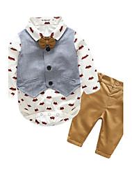 abordables -bébé Ensemble de Vêtements Garçon Quotidien Imprimé Coton Printemps/Automne Manches Longues Marine