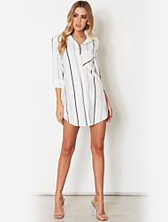 cheap -Women's Holiday Street chic Shirt - Striped Shirt Collar