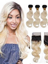 cheap -Human Hair Brazilian Hair Weft with Closure Hair Extensions Four-piece Suit Black/Bleach Blonde