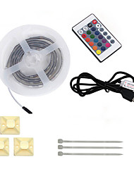 1PCS HKV®1M 5050SMD 60LED Waterproof TV Background LED Strip Lighting USB RGB With 24 key remote controller DC 5V