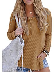 preiswerte -Damen Solide Alltag Gitter Pullover Langarm Rundhalsausschnitt Winter Herbst