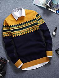 Standard Pullover Da uomo-Casual Monocolore Rotonda Manica lunga Cotone Autunno Medio spessore Media elasticità