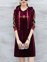 cheap -Women's Sports Going out Casual Street chic Loose Dress,Solid Striped Hooded Above Knee Long Sleeves Others Winter Fall Mid Rise