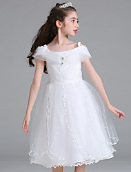 Ball Gown Knee Length Flower Girl Dress - Organza Sleeveless Spaghetti Straps with Crystal Detailing Ruching by YDN