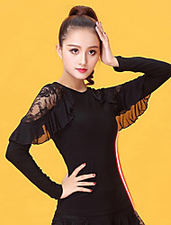 cheap -Latin Dance Women's Performance Ice Silk Lace Long Sleeves Top