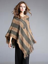 preiswerte -Damen Gestreift Alltag Ausgehen Street Schick Anspruchsvoll Mantel / Capes 3/4 Ärmel V-Ausschnitt Winter Wolle