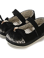 cheap -Girls' Shoes Leather / Fur Spring / Fall Comfort / First Walkers Flats Rhinestone / Animal Print / Split Joint for Black