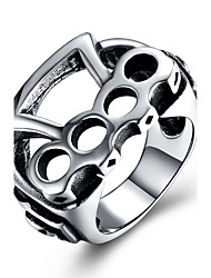 preiswerte -Herrn überdimensional Edelstahl Statement-Ring - Geometrische Form Retro Freizeit überdimensional Silber Ring Für Zeremonie Klub