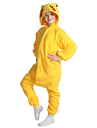 cheap -Kigurumi Pajamas Pika Pika Onesie Pajamas Costume Coral fleece Yellow Cosplay For Kid Animal Sleepwear Cartoon Halloween Festival /