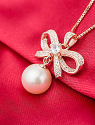 Women's Pendant Necklaces AAA Cubic Zirconia Circle Bowknot Pearl Sterling Silver Imitation Pearl Pink Pearl Gold Pearl Natural Elegant