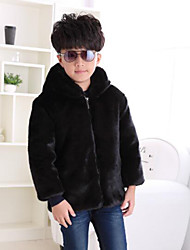 Boys' Solid Jacket & Coat,Faux Fur Special Fur Types Winter Long Sleeve