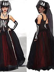 Sorcier/Sorcière Squelette/Crâne Mariée Une Pièce/Robes Féminin Halloween Le jour des morts Fête / Célébration Déguisement d'Halloween