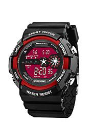 preiswerte -SANDA Herrn digital Armbanduhr Modeuhr Japanisch Kalender Wasserdicht Stopuhr leuchtend Silikon Band Charme Schwarz