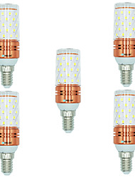 cheap -5pcs 12W E14 LED Corn Lights T 60 leds SMD 2835 Warm White White Dual Light Source Color 1000lm 3000-3500  6000-6500  3000-6500K AC