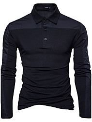 cheap -Men's Daily Going out Casual Active Chinoiserie Spring Fall Polo,Color Block Shirt Collar Long Sleeves Cotton