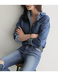abordables -Mujer Camisa, Cuello Camisero Un Color