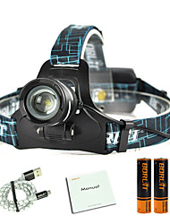 cheap -Boruit® B9 Headlamps Headlight LED 450 lm 3 Mode Cree XP-G2 R5 with Batteries and USB Cable Zoomable Professional Adjustable High Quality