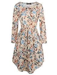 baratos -Mulheres Para Noite Algodão Bainha Vestido Floral Cintura Alta Altura dos Joelhos / Assimétrico / Outono / Inverno