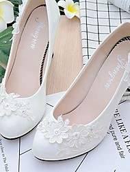 cheap -Women's Shoes Lace Leatherette Spring Fall Comfort Wedding Shoes Round Toe Rhinestone Applique Imitation Pearl Sparkling Glitter Flower