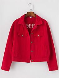 baratos -Mulheres Jaqueta jeans Sólido Letra, Algodão Colarinho de Camisa Bordado