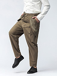 Men's Mid Rise Micro-elastic Harem Loose Chinos Pants,Casual Chinoiserie Embroidered Cotton All Seasons