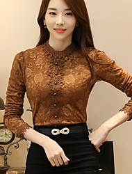 cheap -Women's Daily Winter Fall T-shirt,Solid Round Neck Long Sleeves Polyester Thick