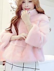 economico -Cappotto di pelliccia Da donna Casual Semplice Inverno,Tinta unita Collo alto Pelliccia sintetica Corto Manica lunga
