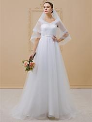 baratos -Linha A Princesa Decote V Cauda Escova Tule Cordão com cordão Vestidos de noiva personalizados com Apliques Caixilhos / Fitas de LAN TING