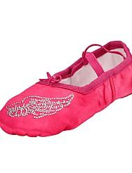 abordables -Chaussures de Ballet Soie Plate Intérieur Diamant acrylique Talon Plat Chaussures de danse Fuchsia