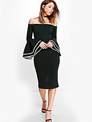 Gaine Robe Femme Soirée Bar Couleur Pleine Bateau Midi Manches 3/4 Polyester Automne Hiver Taille haute Non Elastique Epais