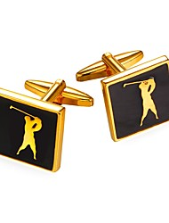 baratos -Forma quadrada Prata Dourado Botões de Punho Latão Pedaço de Platina Chapeado Dourado Lazer Festa Encontro Homens Jóias de fantasia