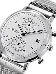 Herrn Modeuhr Armbanduhr Japanisch Quartz Kalender Armbanduhren für den Alltag Edelstahl Band Freizeit Elegant Schwarz Silber