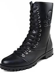 Недорогие -Для мужчин обувь Полиуретан Весна Осень Удобная обувь Ботинки Назначение Черный