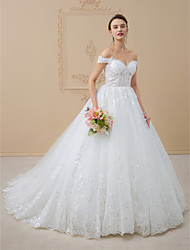 cheap -A-Line Princess Off-the-shoulder Chapel Train Tulle Wedding Dress with Lace Sequins by LAN TING BRIDE®