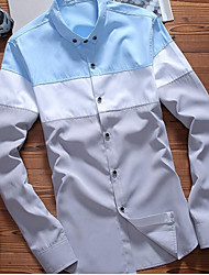 Men's Daily Wear Active Shirt,Color Block Button Down Collar Long Sleeves Cotton