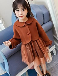 cheap -Girls' Solid Clothing Set,Cotton Rayon Polyester Winter Fall Long Sleeves Cute Casual Street chic Brown