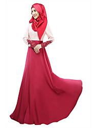 cheap -Women's Jalabiya Dress - Color Block High Waist
