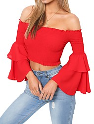 cheap -Women's T-shirt - Solid Colored Off Shoulder
