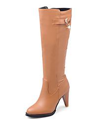 baratos -Mulheres Sapatos Courino Inverno Outono Botas da Moda Botas Salto Cone Ponta Redonda Botas Cano Alto Pedrarias para Casual Festas & Noite