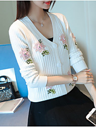 Women's Daily Wear Casual Regular Cardigan,Print V Neck Long Sleeves Acrylic Fall Thin Stretchy