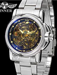 WINNER Homens Relógio Elegante Relógio de Pulso relógio mecânico Automático - da corda automáticamente Gravação Oca Aço Inoxidável Banda