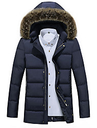 Men's Long Padded Coat,Casual Daily To-Go Solid-Polyester Long Sleeves