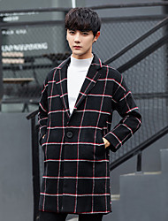 cheap -Men's Daily Street chic Winter Fall Coat,Houndstooth V-neck Long Sleeves Long Wool Polyester